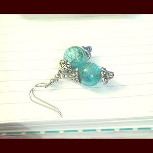 Jewelry - Blue Glass Blown Handmade Earrings New